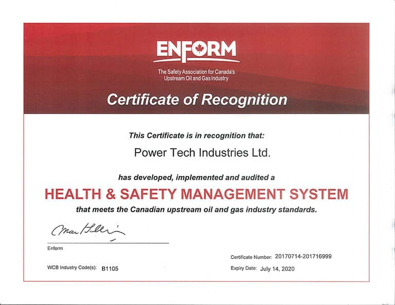 Powertech Industries Saskatchewan COR certification